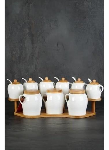 Acar Porselen Bambu Standlı 9'Lu Baharat Seti Renkli